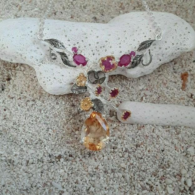 AGNES CREATIONS // Elégant Collier Sautoir femme Mode en argent 925 ornée Onyx