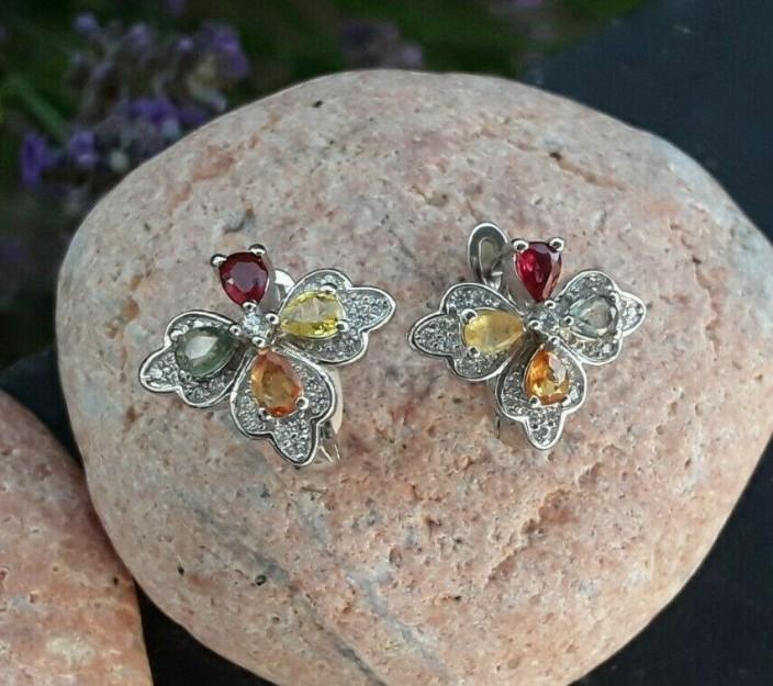 Boucles d'oreilles de Créateur argent 925 ornées de Tourmalines & de zirconiums