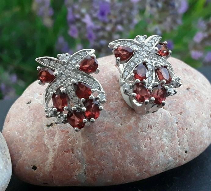 Boucles d'oreilles de Créateur argent 925 ornées Grenats & zirconiums