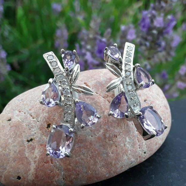 Boucles d'oreilles de Créateur argent 925 ornées d'Améthyste  & de zirconiums