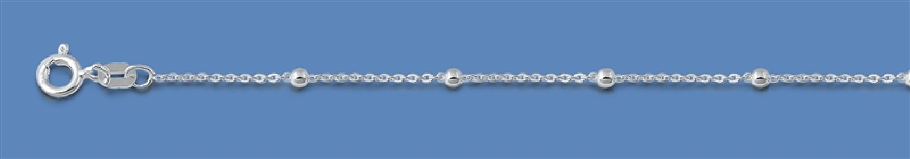 Chaine maille Forçat & Boule 1 mm argent 925