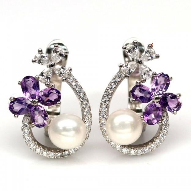 Boucles d oreilles de créateur ornées Améthyste & Perle Argent 925