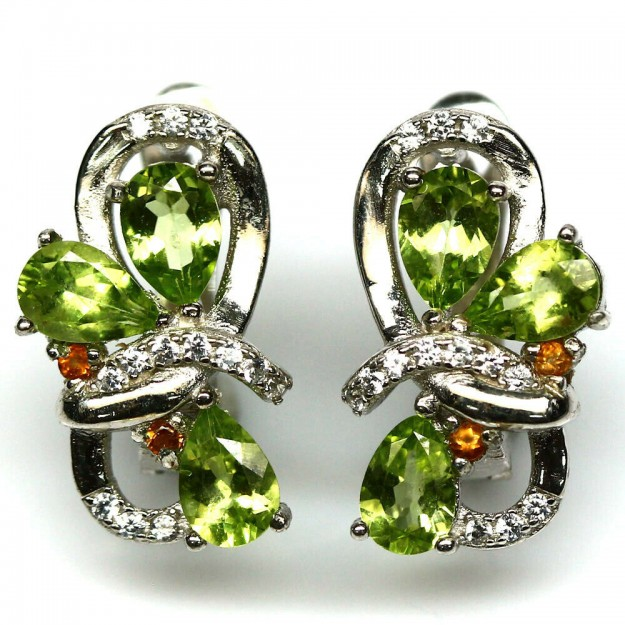Boucles d oreilles de créateur ornées Péridot & Citrine Argent 925