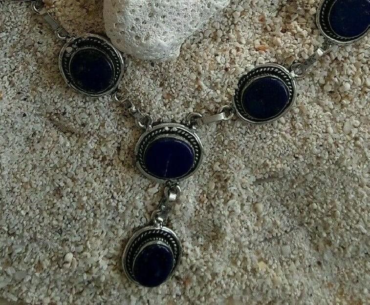 COLLIER ETHNIQUE CHIC RETRO ORNE Lapis lazuli