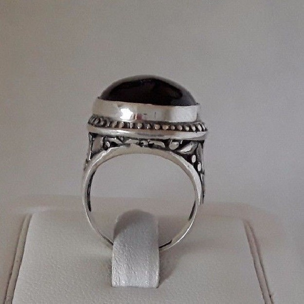 AGNES CREATIONS / SUBLIME BAGUE MODE FEMME ARGENT 925 ORNEE ONYX - TAILLE 49