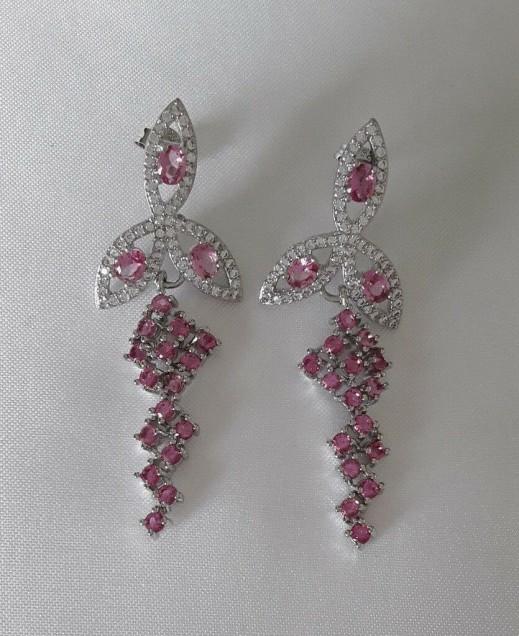 AGNES CREATIONS / Boucles d oreilles chicTourmaline rose & Zirconium argent 925