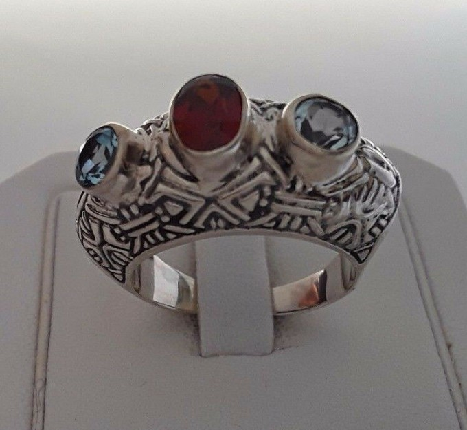 AGNES CREATIONS // SUPERBE BAGUE MIXTE INDIENNE ARGENT 925  TOPAZES  -TAILLE 60