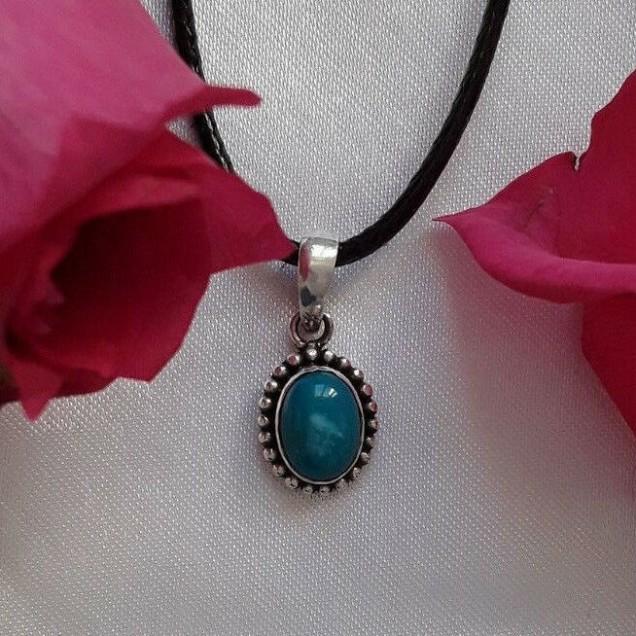 AGNES CREATIONS / Pendentif femme mode style Ancien en argent 925 & Turquoise
