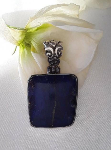 AGNES CREATIONS // SYMPA Pendentif FEMME Moderne en argent 925 orné Lapis Lazuli