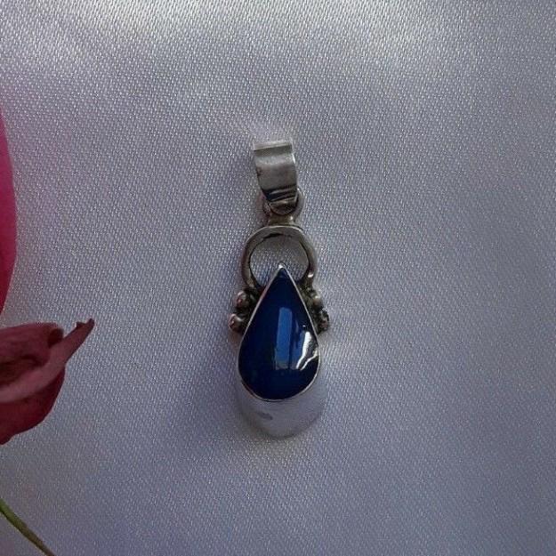 AGNES CREATIONS // Joli Pendentif Moderne en argent 925 orné Lapis Lazuli Goutte