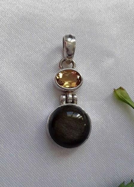 AGNES CREATIONS // Joli Pendentif Femme argent 925 orné Labradorite & Citrine