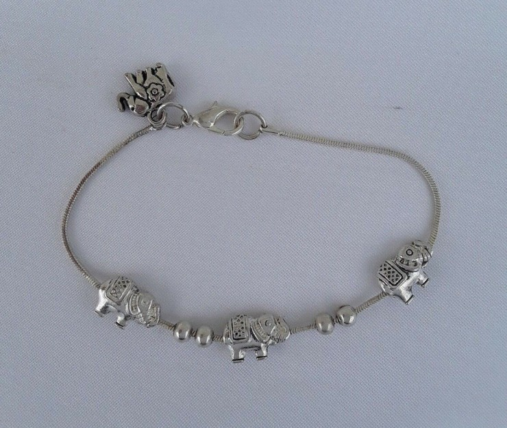 "AGNES CREATIONS //  BRACELET MODE ENFANT FILETTE  ""ELEPHANT"" EN METAL ARGENTE"