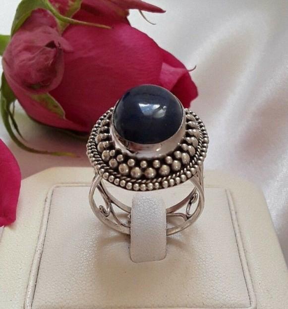AGNES CREATIONS / Belle Bague Femme en Argent 925 ornée Lapis Lazuli  Taille 57-