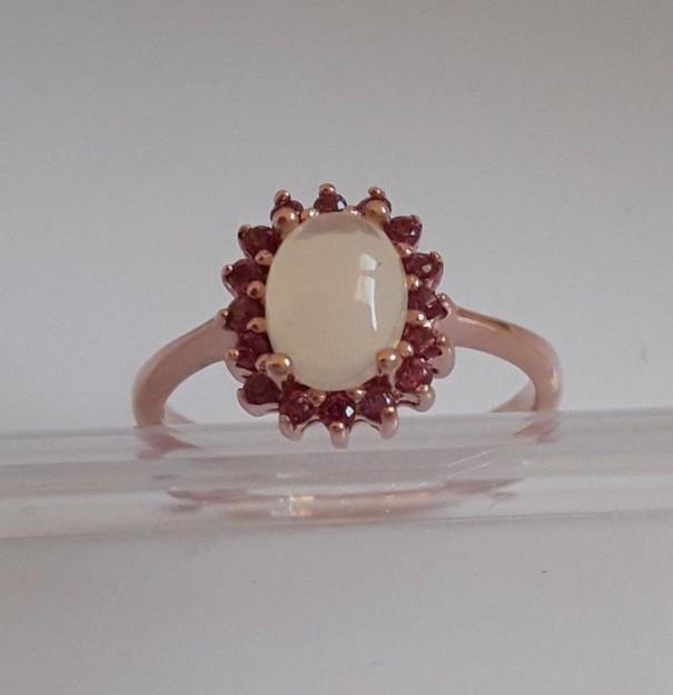 AGNES CREATIONS / Bague créateur argent 925 & Or opale Rhodolite Rose Taille 58
